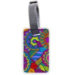 Pop Art Paisley Flowers Ornaments Multicolored Luggage Tags (Two Sides) Back