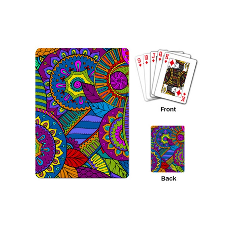 Pop Art Paisley Flowers Ornaments Multicolored Playing Cards (Mini)