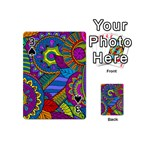 Pop Art Paisley Flowers Ornaments Multicolored Playing Cards 54 (Mini)  Front - Spade3
