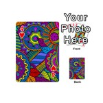 Pop Art Paisley Flowers Ornaments Multicolored Playing Cards 54 (Mini)  Front - Heart4