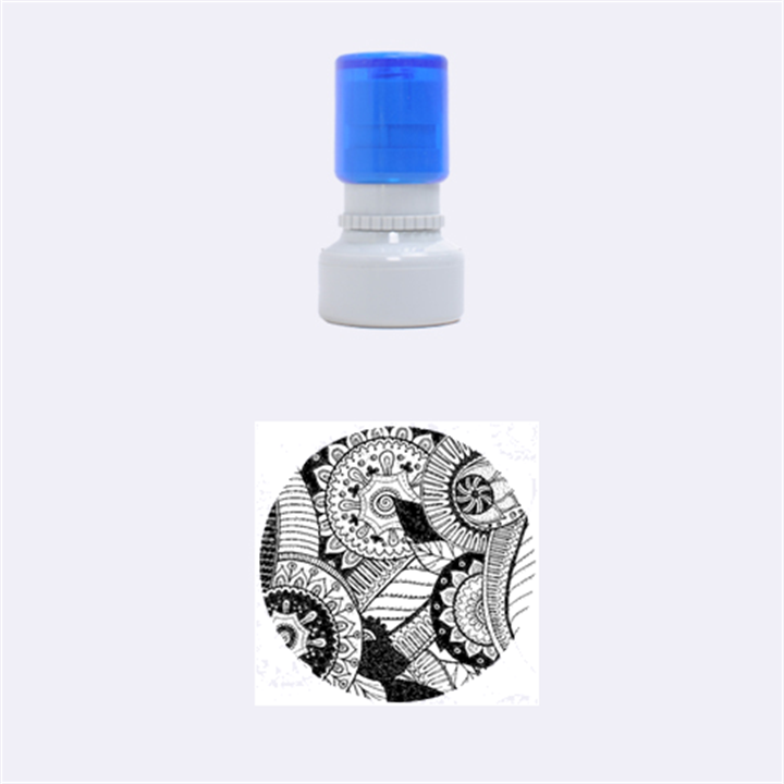 Pop Art Paisley Flowers Ornaments Multicolored Rubber Round Stamps (Small)