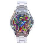 Pop Art Paisley Flowers Ornaments Multicolored Stainless Steel Analogue Watch Front