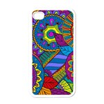 Pop Art Paisley Flowers Ornaments Multicolored Apple iPhone 4 Case (White) Front