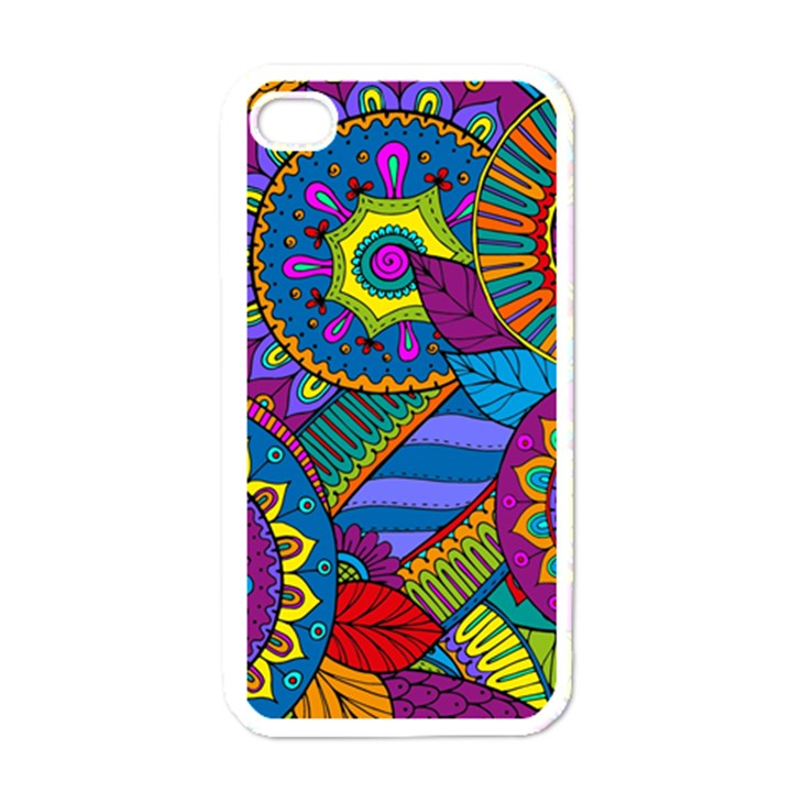 Pop Art Paisley Flowers Ornaments Multicolored Apple iPhone 4 Case (White)