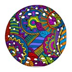 Pop Art Paisley Flowers Ornaments Multicolored Ornament (Round Filigree)  Front