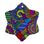 Pop Art Paisley Flowers Ornaments Multicolored Ornament (Snowflake)  Front