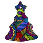 Pop Art Paisley Flowers Ornaments Multicolored Christmas Tree Ornament (2 Sides) Back