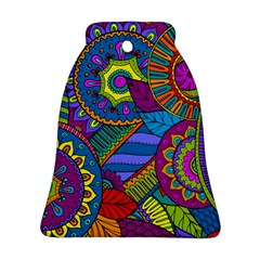 Pop Art Paisley Flowers Ornaments Multicolored Bell Ornament (2 Sides)