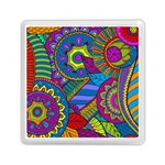 Pop Art Paisley Flowers Ornaments Multicolored Memory Card Reader (Square)  Front