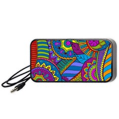 Pop Art Paisley Flowers Ornaments Multicolored Portable Speaker (black)