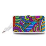 Pop Art Paisley Flowers Ornaments Multicolored Portable Speaker (White)  Front