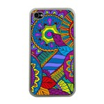 Pop Art Paisley Flowers Ornaments Multicolored Apple iPhone 4 Case (Clear) Front