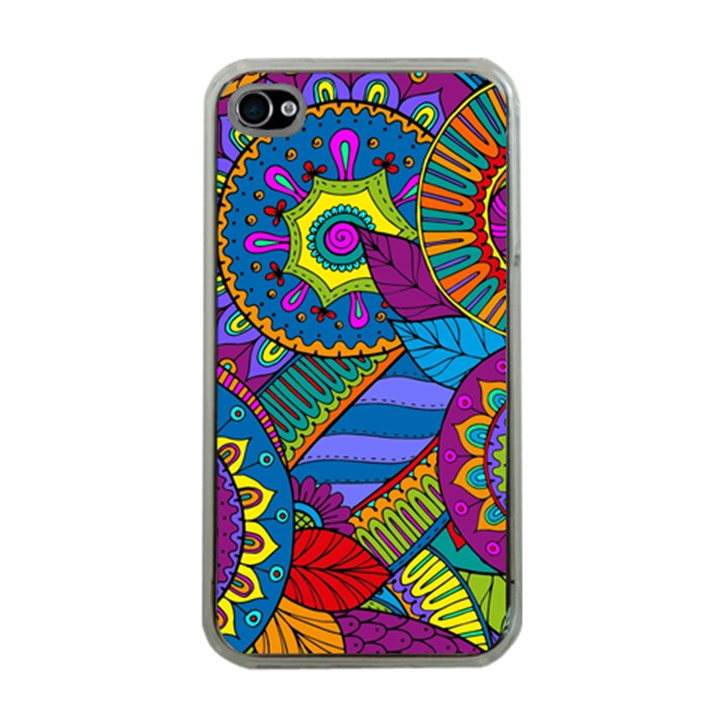 Pop Art Paisley Flowers Ornaments Multicolored Apple iPhone 4 Case (Clear)