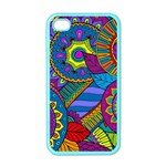 Pop Art Paisley Flowers Ornaments Multicolored Apple iPhone 4 Case (Color) Front