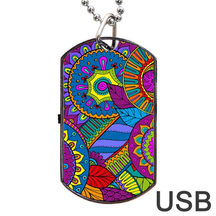 Pop Art Paisley Flowers Ornaments Multicolored Dog Tag USB Flash (One Side)