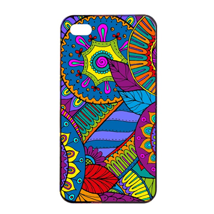 Pop Art Paisley Flowers Ornaments Multicolored Apple iPhone 4/4s Seamless Case (Black)