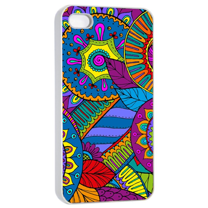 Pop Art Paisley Flowers Ornaments Multicolored Apple iPhone 4/4s Seamless Case (White)