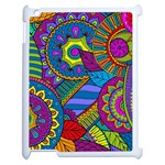 Pop Art Paisley Flowers Ornaments Multicolored Apple iPad 2 Case (White) Front