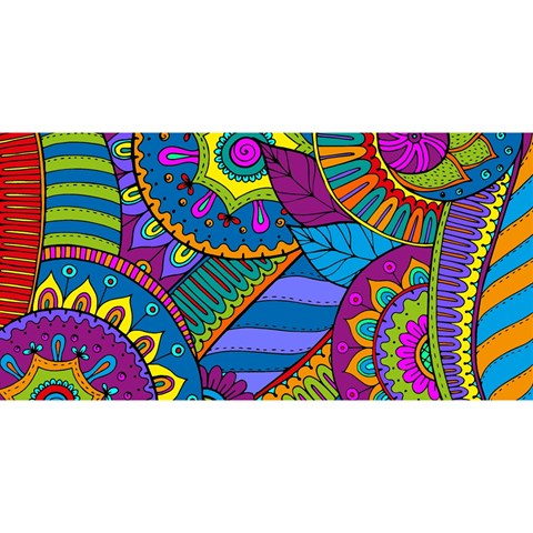 Pop Art Paisley Flowers Ornaments Multicolored YOU ARE INVITED 3D Greeting Card (8x4)