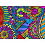 Pop Art Paisley Flowers Ornaments Multicolored LOVE Bottom 3D Greeting Card (7x5) Back