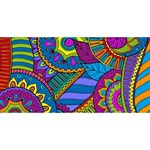 Pop Art Paisley Flowers Ornaments Multicolored SORRY 3D Greeting Card (8x4) Back