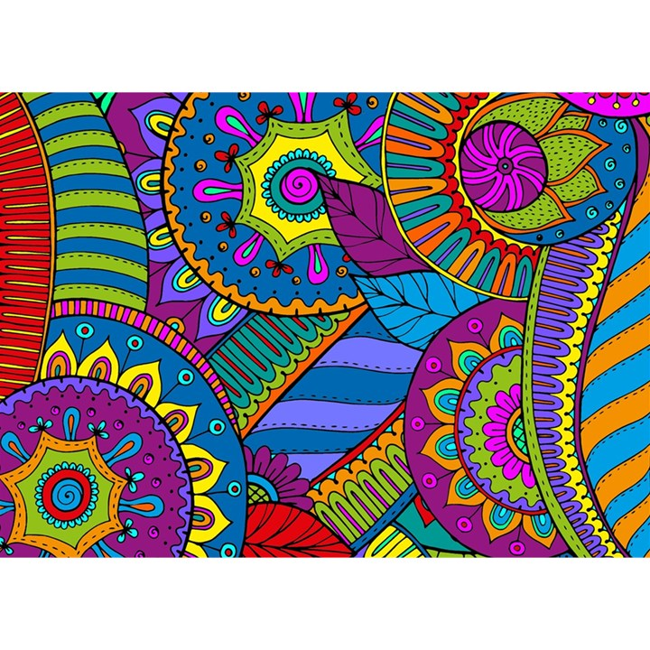 Pop Art Paisley Flowers Ornaments Multicolored Birthday Cake 3D Greeting Card (7x5)