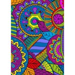 Pop Art Paisley Flowers Ornaments Multicolored Birthday Cake 3D Greeting Card (7x5) Inside