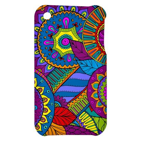 Pop Art Paisley Flowers Ornaments Multicolored Apple iPhone 3G/3GS Hardshell Case