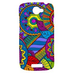 Pop Art Paisley Flowers Ornaments Multicolored HTC One S Hardshell Case
