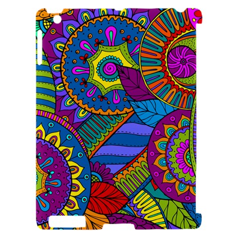Pop Art Paisley Flowers Ornaments Multicolored Apple iPad 2 Hardshell Case (Compatible with Smart Cover)