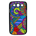 Pop Art Paisley Flowers Ornaments Multicolored Samsung Galaxy S III Case (Black) Front