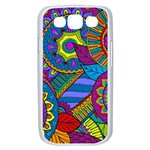 Pop Art Paisley Flowers Ornaments Multicolored Samsung Galaxy S III Case (White) Front