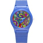 Pop Art Paisley Flowers Ornaments Multicolored Round Plastic Sport Watch (S) Front