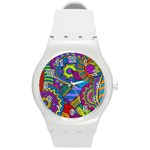 Pop Art Paisley Flowers Ornaments Multicolored Round Plastic Sport Watch (M) Front