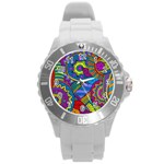 Pop Art Paisley Flowers Ornaments Multicolored Round Plastic Sport Watch (L) Front