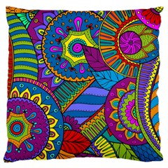 Pop Art Paisley Flowers Ornaments Multicolored Large Cushion Case (One Side)