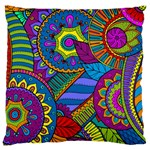 Pop Art Paisley Flowers Ornaments Multicolored Large Cushion Case (Two Sides) Back