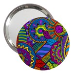 Pop Art Paisley Flowers Ornaments Multicolored 3  Handbag Mirrors Front