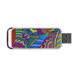 Pop Art Paisley Flowers Ornaments Multicolored Portable USB Flash (One Side) Front