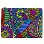 Pop Art Paisley Flowers Ornaments Multicolored Cosmetic Bag (XXL)  Front