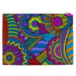 Pop Art Paisley Flowers Ornaments Multicolored Cosmetic Bag (XXL)  Back
