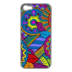 Pop Art Paisley Flowers Ornaments Multicolored Apple iPhone 5 Case (Silver)