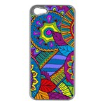 Pop Art Paisley Flowers Ornaments Multicolored Apple iPhone 5 Case (Silver) Front