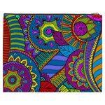Pop Art Paisley Flowers Ornaments Multicolored Cosmetic Bag (XXXL)  Back