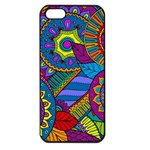 Pop Art Paisley Flowers Ornaments Multicolored Apple iPhone 5 Seamless Case (Black) Front