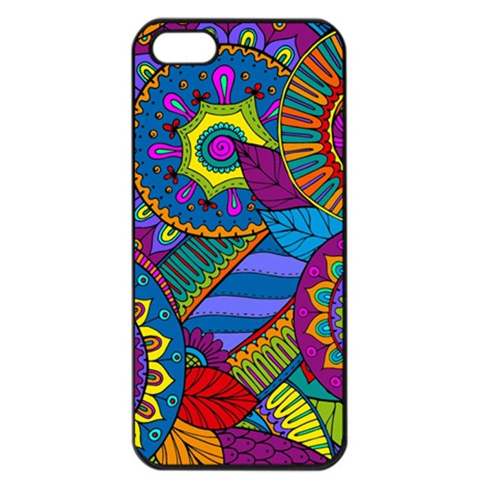 Pop Art Paisley Flowers Ornaments Multicolored Apple iPhone 5 Seamless Case (Black)
