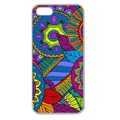 Pop Art Paisley Flowers Ornaments Multicolored Apple Seamless iPhone 5 Case (Clear)