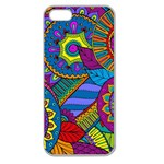 Pop Art Paisley Flowers Ornaments Multicolored Apple Seamless iPhone 5 Case (Clear) Front