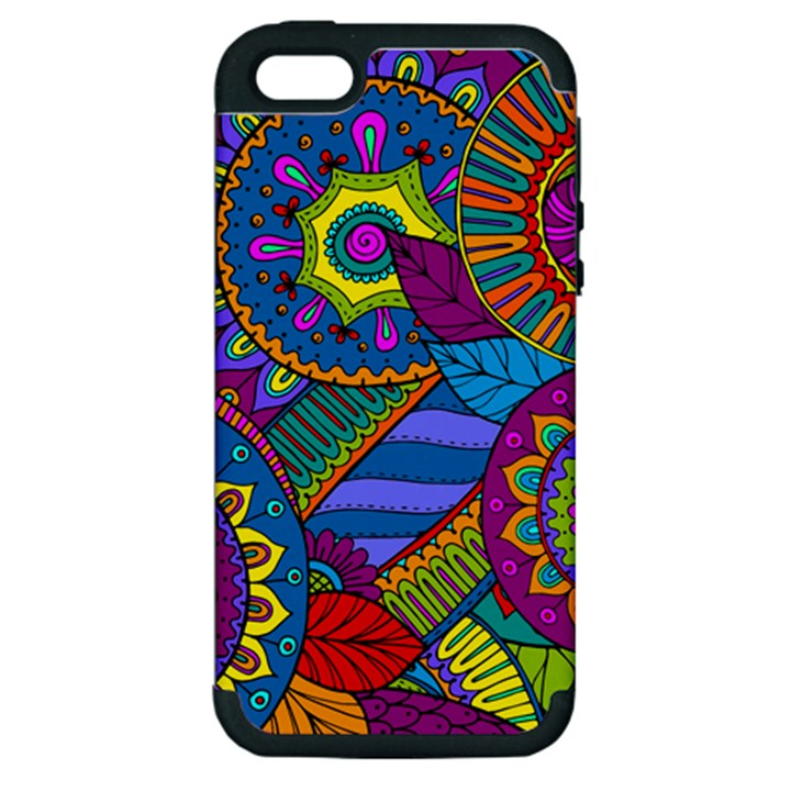 Pop Art Paisley Flowers Ornaments Multicolored Apple iPhone 5 Hardshell Case (PC+Silicone)