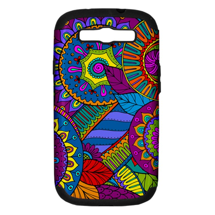 Pop Art Paisley Flowers Ornaments Multicolored Samsung Galaxy S III Hardshell Case (PC+Silicone)